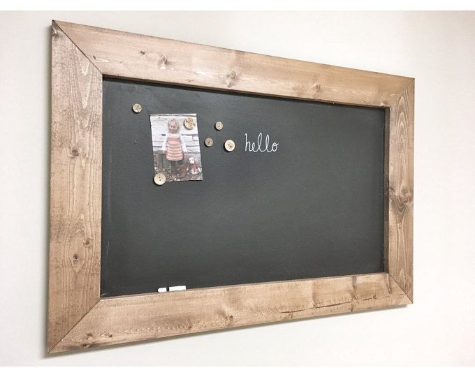 Rustic Wooden MAGNETIC CHALKBOARD Memo Board Frame - Farmhouse Bulletin Board, Decorative Framed Chalkboard Distressed French Country