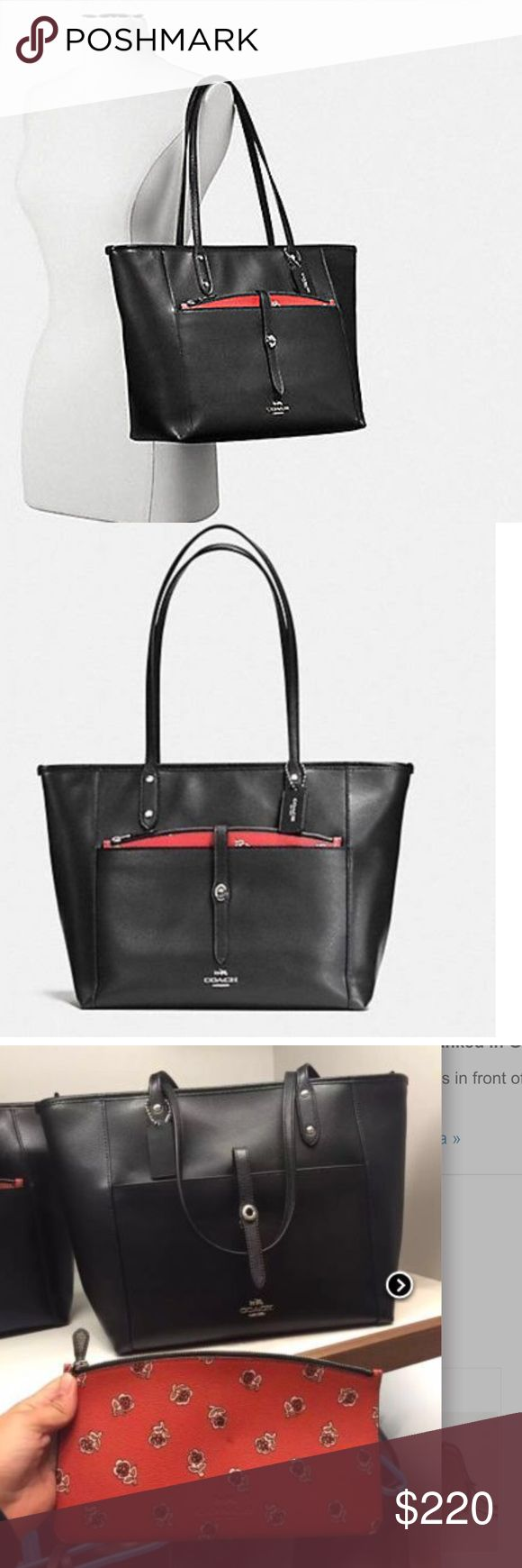NEW COACH LEATHER BAG WITH POUCH $400 ORIGINAL New gorgeous coach bag with pouch. Great for everyday use and all year long. Bundle up and save Coach Bags Shoulder Bags