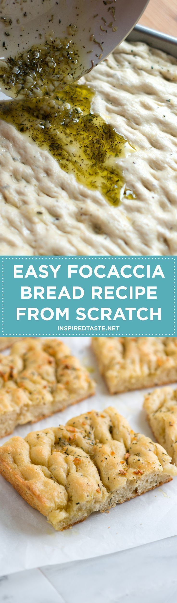 Our focaccia bread recipe is very simple to make – no fancy equipment is needed at all. If you want to make your own bread, this is where to start! Recipe on inspiredtaste.net | @inspiredtaste