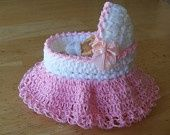 "MINIATURE CROCHET BASSINET 3"" for 2inch ooak baby or Heidi Ott Doll"