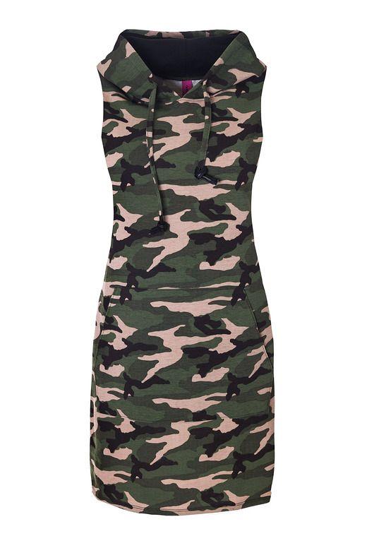 sukienki-Dresowa sukienka z kapturem bez rękawów moro