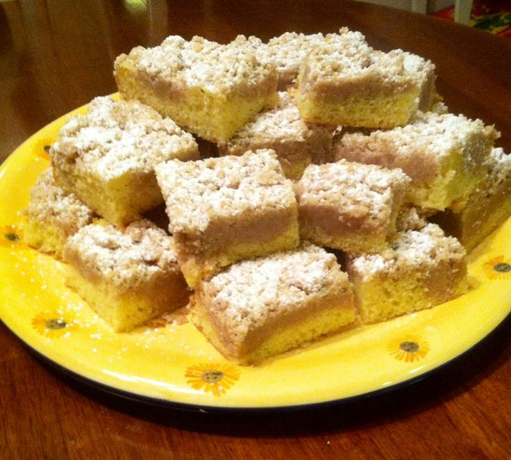 This is called Jersey Shore Crumb Cake, but looks similar to a coffee cake from Chicago area bakeries that I remember from the 60s and 70s. ~R.M.