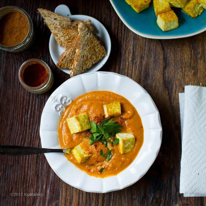 Golden Trio Chipotle Fall Soup. Crispy Tofu.    Healthy. Happy. Life.
