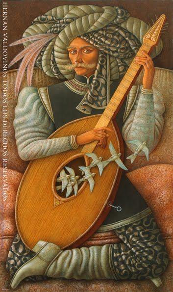 Hernán Valdovinos, pintor chileno.Art Musicians, Music Instruments, Pintura Chilena, Hernan Valdovino, Magic Realism, Artmisc Pics, Hernán Valdovino, Artists Link, Chilean Artists