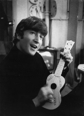 John Lennon with a lovely ukulele!! So glad I'm leading the uke now