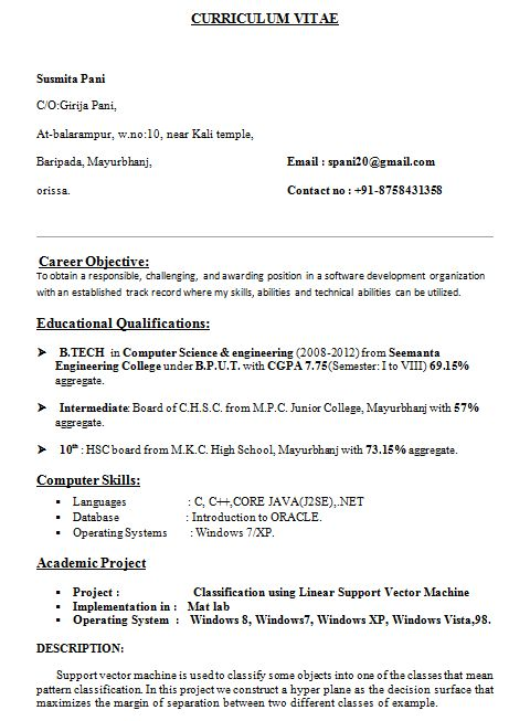 3285 best resume template images on Pinterest Sample resume - computer science resume sample