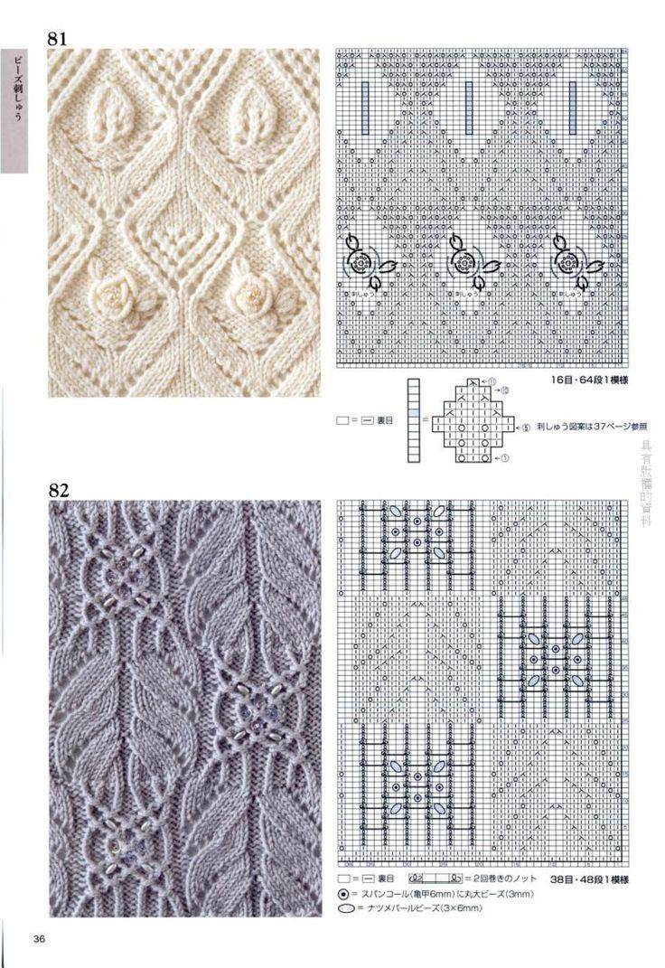 схема узоров из ажурных столбиков