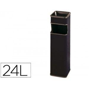 Papelera cenicero metalico cuadrado en color Negra