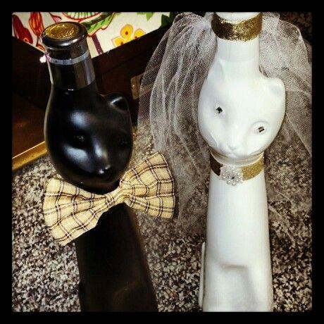 Booze & cats! Bride n groom cat shaped wine bottles as a ...