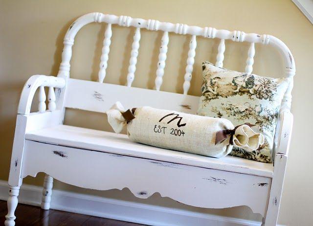 Tutorial for repurposing a crib or headboard into a bench.