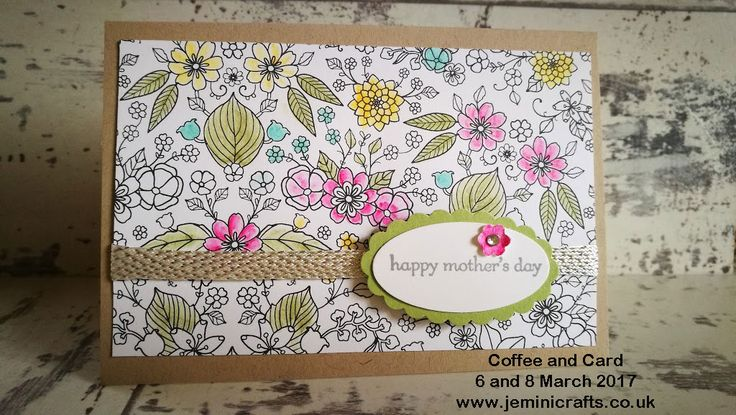 #coffeeandcard sessions - a weekly drop in craft session with Jenny McCormac in Northamptonshire. Mondays and Wednesdays every week. www.jeminicrafts.co.uk for full details. Jenny McCormac, Independent Stampin' Up Demonstrator craft supplies online