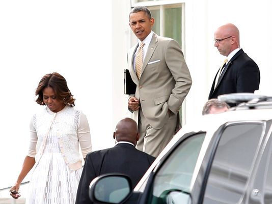 President and Mrs. Obama on Easter Sunday 2014