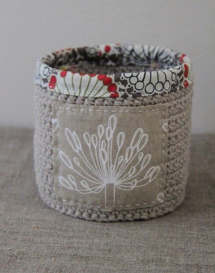 Crochet basket -- so cute with the fabric trim!...can't find the pattern;so I'll have to wing it!!