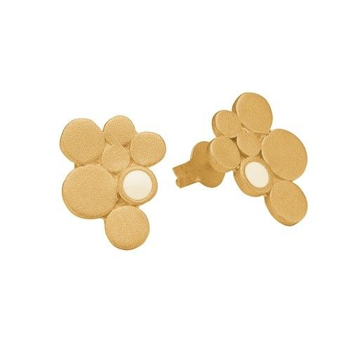 Stud, 7 circles, beige, gold plated sterling silver