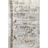 Found it at Wayfair.ca - Crate Sign 'To our Children..Roots & Wings' by Denise Walsh Textual Art on Plaque in Antique white