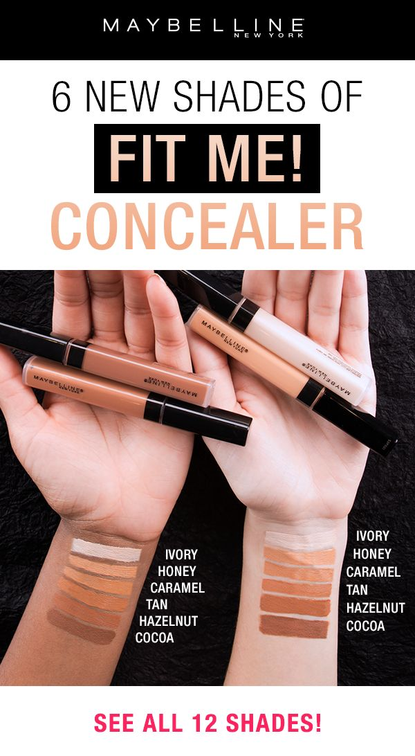 Our best selling, fan favorite Fit Me! Concealer is now available in 6 new shades!  This shade extension goes both lighter and darker to suit more complexions.  Skin looks perfected with this natural coverage liquid concealer. This oil-free concealer formula conceals redness, flaws, and blemishes.