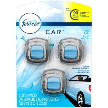 Febreze CAR Vent Clip Linen & Sky Air Freshener, 0.195 oz, 3 count - Walmart.com