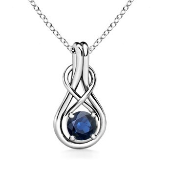 Angara 6mm Sapphire Infinity Knot Pendant in 14k Yellow Gold s00tHb