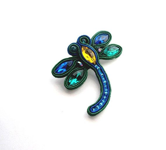 Emerald Soutache Dragonfly Brooch Cobalt Soutache by IncrediblesTN, $19.00