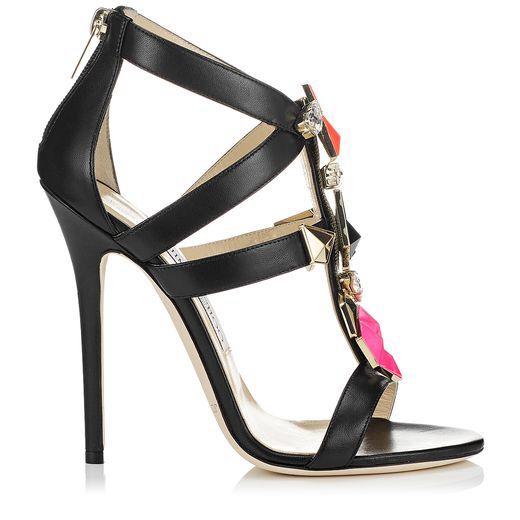 Jimmy Choo model COLADA Black Sandals with Stones 2014. Shoes, zapatos,  sandalias.