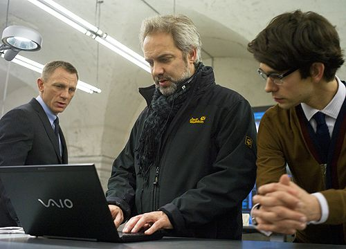 Daniel Craig, Sam Mendes and Ben Whishaw on the set ofSkyfall(2012)