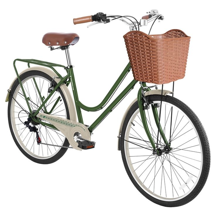"""Turn your daily commute into something more with this Women's 26"""" City Basic Premium Hybrid Bike from Gama. Also known as a commuter bike, this six-speed cruiser will get you where you need to go, whatever the conditions. The vinyl-covered saddle seat is studded for style and is comfortable to boot. Carry everything you need without breaking your back with the woven basket in the front and rack in the back."""