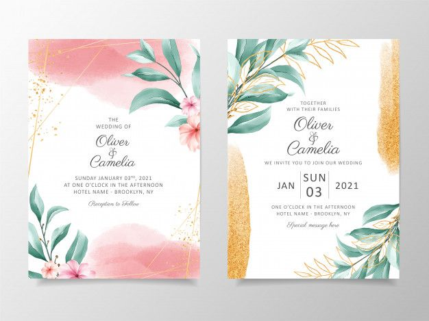 Elegant Watercolor Wedding Invitation Card Template Set With Floral Decoration And Gold Glitter Watercolor Wedding Invitations Wedding Invitation Card Template Watercolor Floral Wedding Invitations
