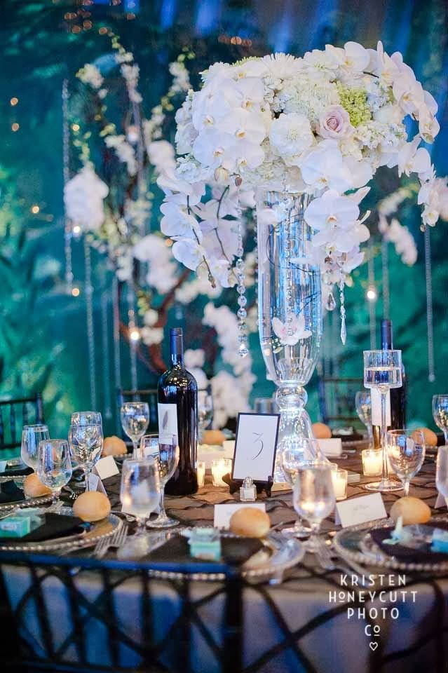 Tall centerpiece of white orchids, Seattle Aquarium wedding, black and white wedding, Flora Nova Design/Seattle