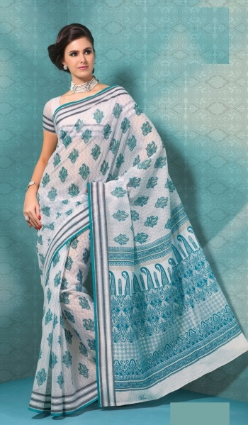 Off White Teal Cotton Stylish Indian Saree