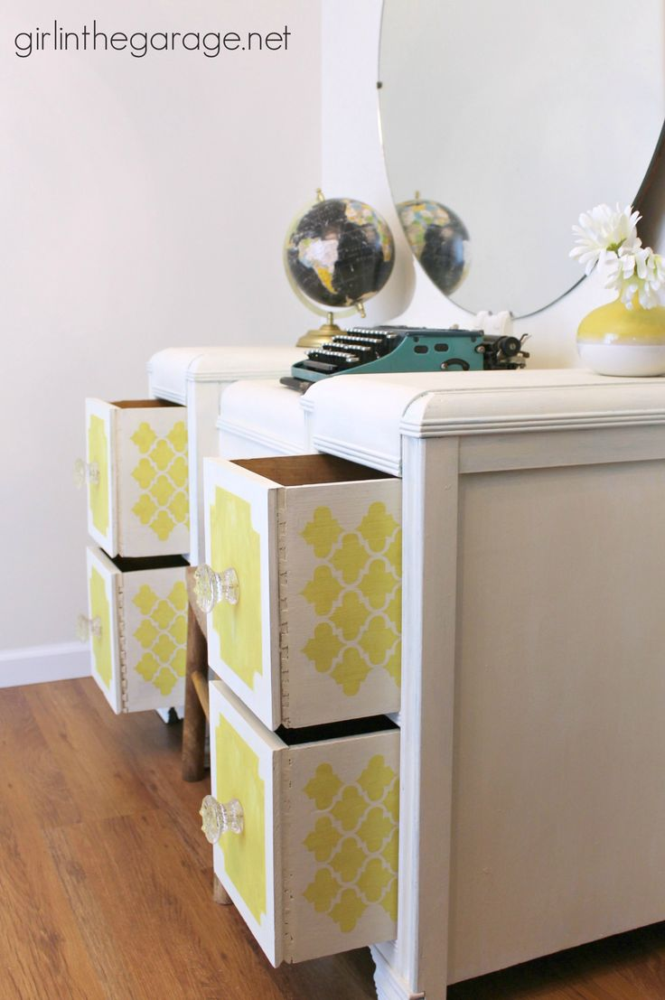 157 best art deco furniture flip images on pinterest waterfall bright white and yellow waterfall vanity makeover with english yellow old white chalk paint decorative paint by annie sloan and stenciled peekaboo