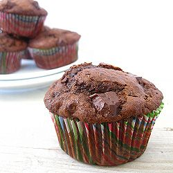 Chocolate-Chocolate Chunk Muffins from divine baking.