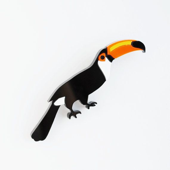Toucan Designer Brooch Tropical Bird Jewelry by Nechegonadet
