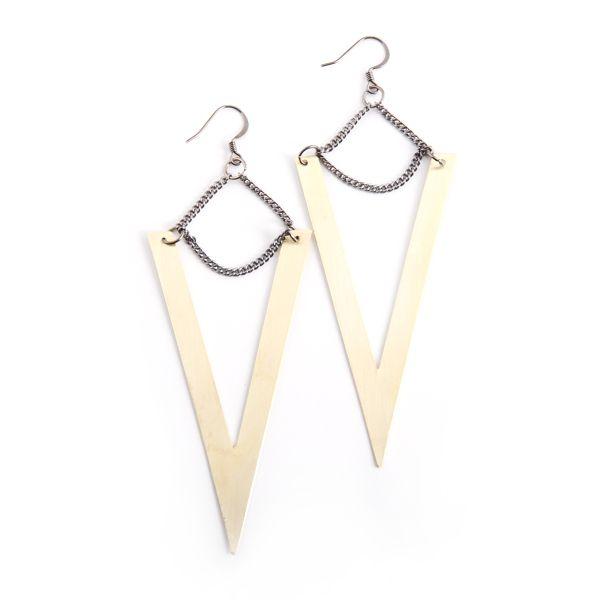 Hunt Amor • OS V earrings in brass • huntamor.com