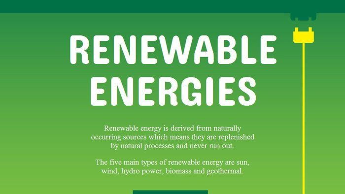 Renewable Energies - Science (6,7). Renewable energy sources provide cleaner, sustainable power that has the potential to meet all our energy needs. This infographic explores the five main types of renewable energy: solar, wind, hydro power, biomass and geothermal.