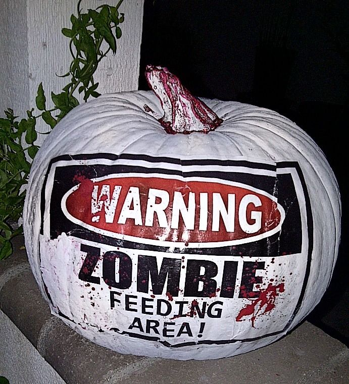 No Carve Pumpkin Just Use Paint And Mod Podge Warning Zombies Diy Projects To Try Pinterest Pumpkins