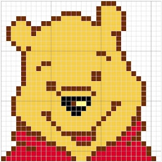 Winnie the Pooh Cross Stitch or Hama Perler Bead Pattern