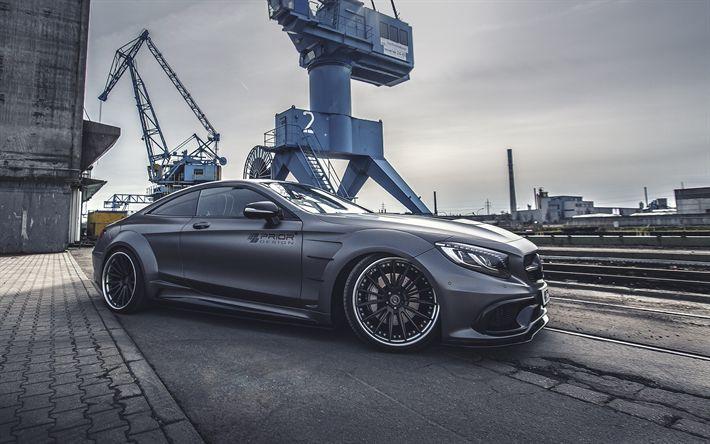 Download imagens Antes De Design, ajuste, porta, Mercedes-Benz Classe E Coupé, C217, cinza Mercedes, supercarros, guindaste