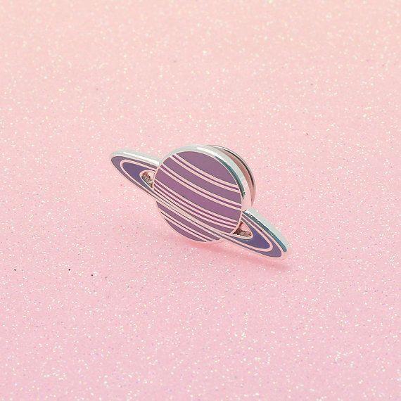 Pink Planet Enamel Pin // Space enamel pin // Solar system pin badge//EP037
