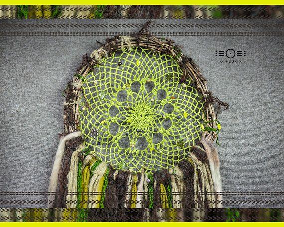 dream catcher twig nest green brown crochet fiberart feather