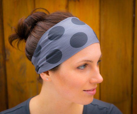 Exercise Hair Bands: Headband Giant Black Polka Dots On Gray Hair Band, Workout