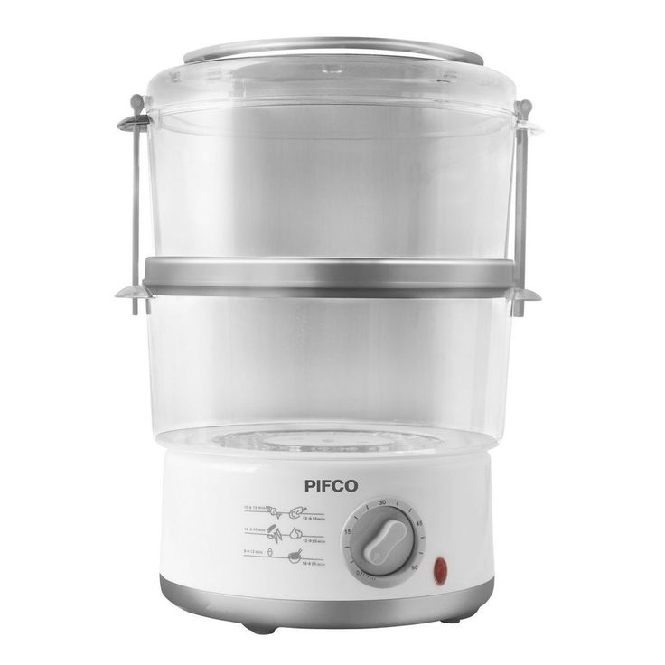 Pifco 2 Tier 550W Compact Electric Kitchen Steamer Cooker Vegetable Timer 2x2.5L