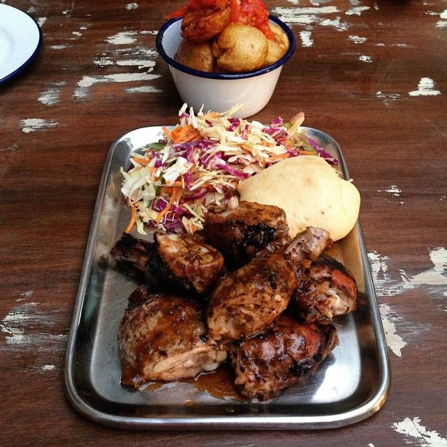 Jerk Chicken, Colesaw, Bread Roll with Fried Potatoes @ Junkanoo, Crown St, Surry Hills. #carribbean