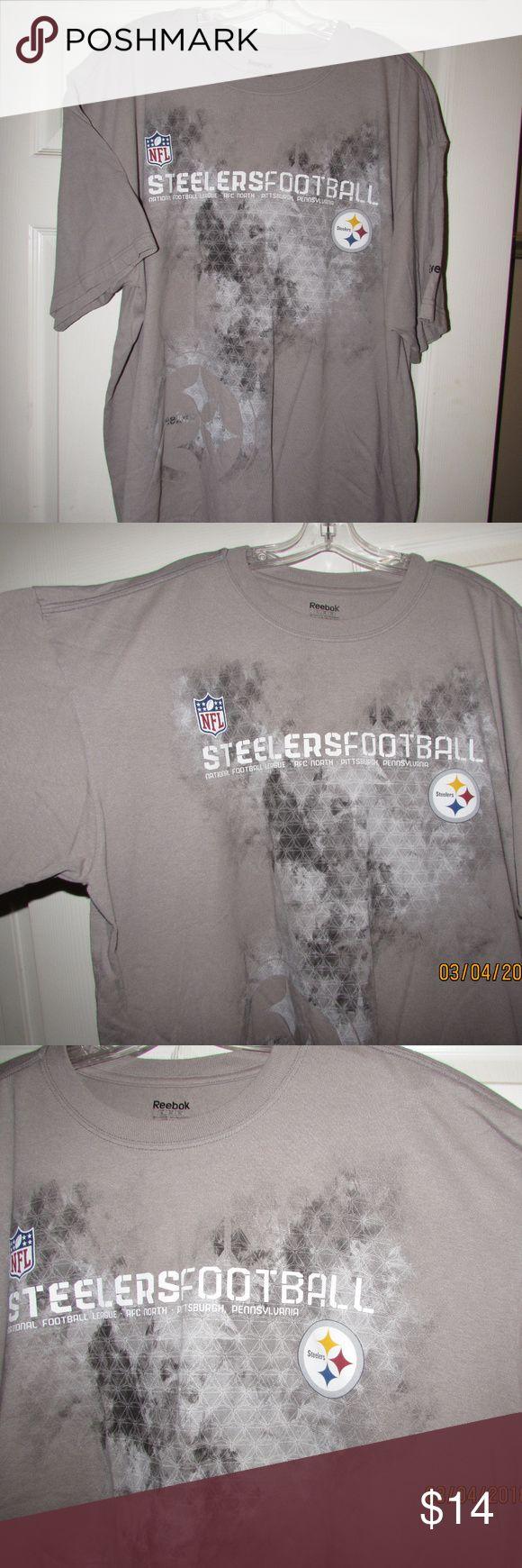 PITTSBURGH STEELERS NFL Reebok XL Tee T-Shirt Gray PITTSBURGH STEELERS NFL Reebok Size XL Tee T-Shirt Gray Reebok Shirts Tees - Short Sleeve
