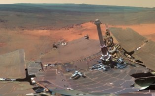 NASA has released a new panorama from its Mars Exploration Rover Opportunity, showing the terrain where the robot spent the Martian winter.: Photos, Nasa, Four Months Martian, Mars Exploring, Robots Spent, Exploring Rovers, Mars Landscape, Stunning Photo, Martian Winter