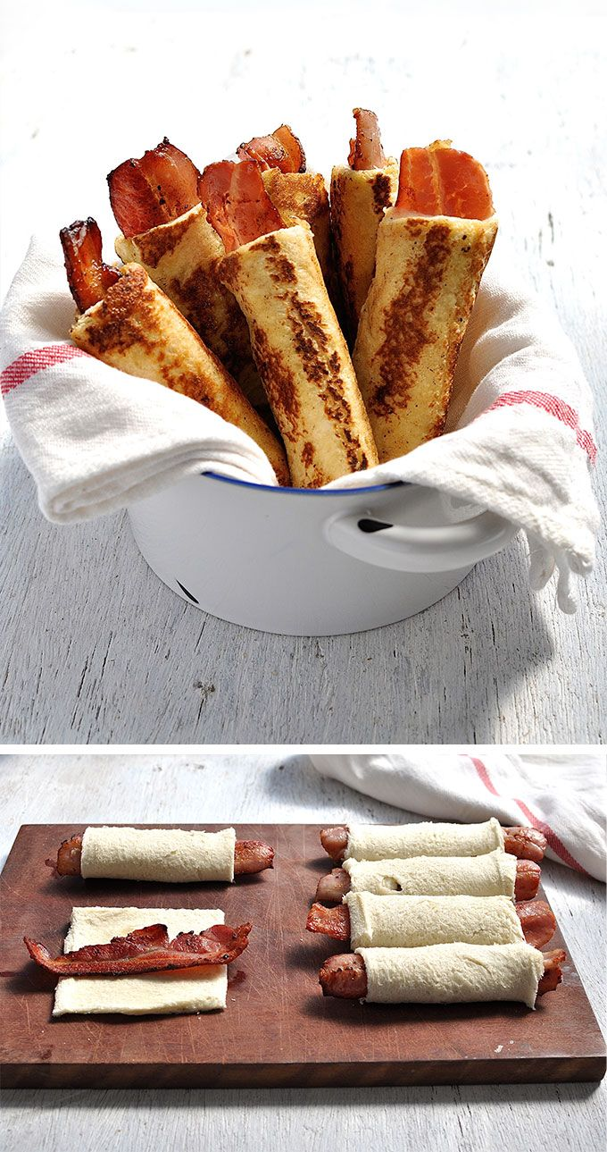 Bacon French Toast Roll Ups - crispy bacon rolled up in bread, dipped in egg mixture and pan fried golden brown. These need to be made with fresh, plain sandwich bread, not fancy artisan bread.