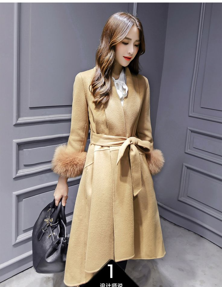 Fox Wool Sleeve Edge Turn-down Collar Long Coat With Belt on