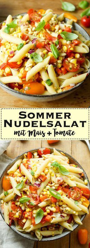 Ein frisches und saisonales Rezept für einen Sommer Nudelsalat mit frischen Maiskörnern, Cherry-Tomaten und frischem Basilikum. Den Salat habt Ihr in weniger als 30 Minuten fertig und er kann unkompliziert zu jedem Grillfest oder zum Ausflug an den Strand mitgenommen werden. Vegan, Vegetarisch, Einfache Gesunde Rezepte - Elle Republic
