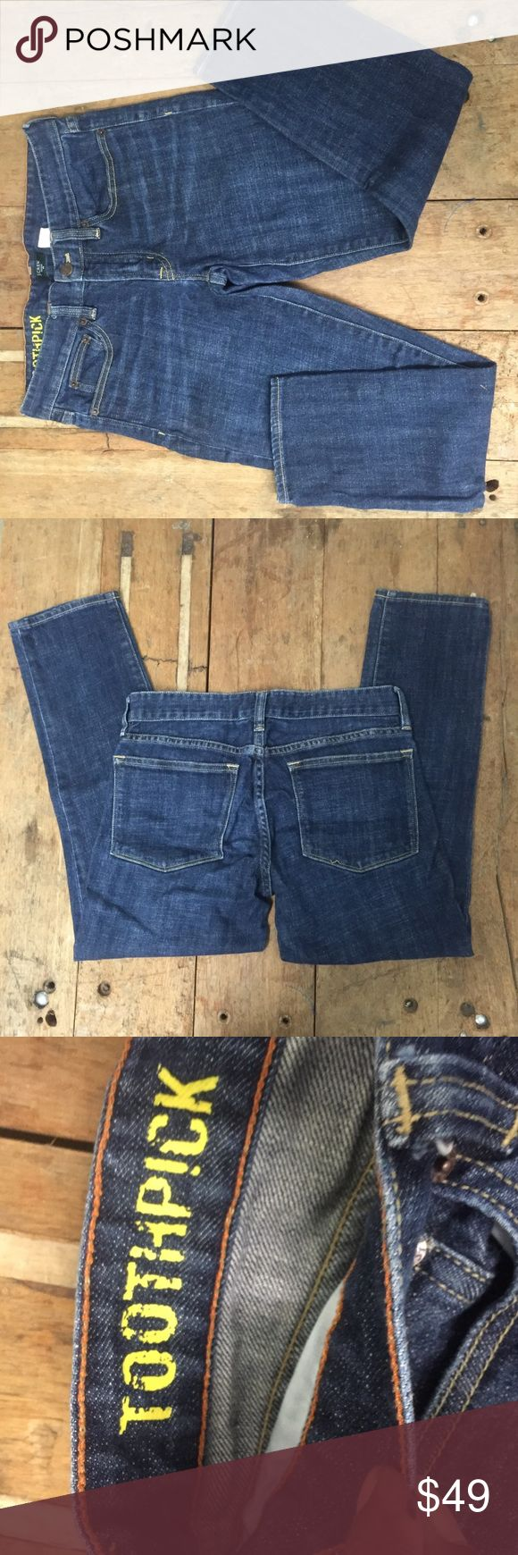 """J. Crew Factory Toothpick Jeans Excellent used condition. One small flaw (purchased this way) stitching loose in area of back pocket. Please see photo. Cotton with a hint of stretch. Sits lower on hip, with a superskinny, straight leg. 25"""" inseam.  Waist 29"""" Traditional 5-pocket styling. Machine wash. Import. Item 70934.  Location (1021). These are Skinny Jeans. J. Crew Jeans Skinny"""