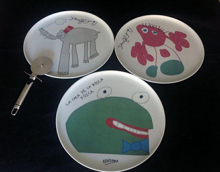 Platos para pizza personalizados con un dibujo hecho por un niño. #Porcelana #Pizza #Personalizado #Midibu4U