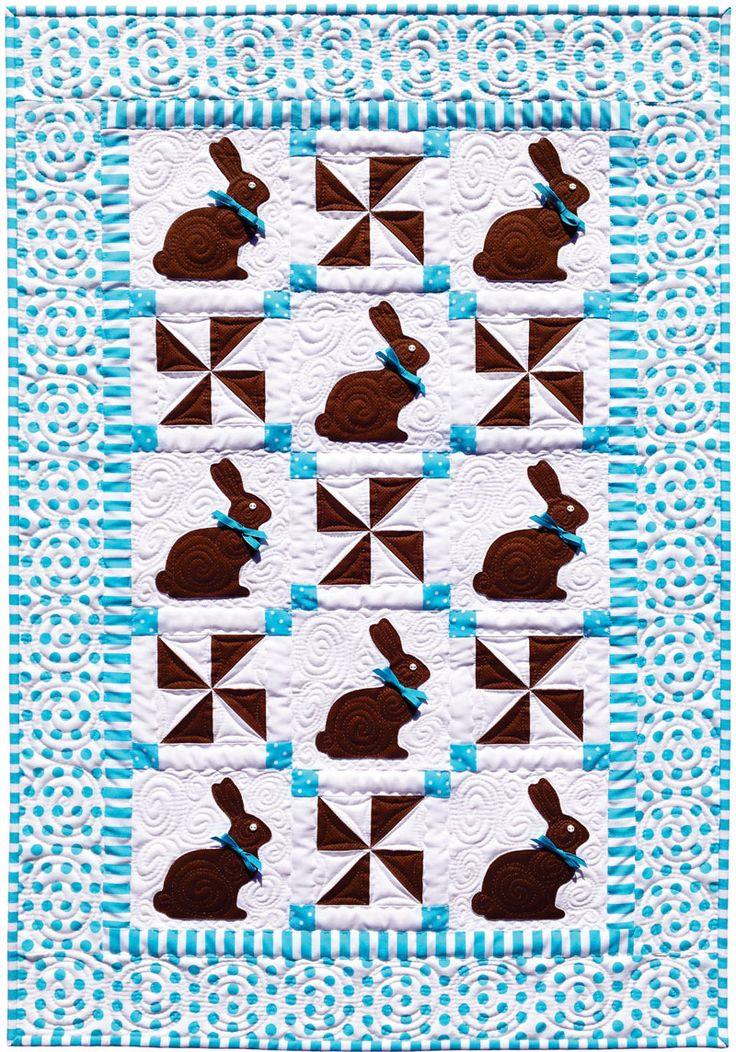 Chocolate Bunnies Easter Quilt by Amy Bradley Designs | Timeless Treasures fabrics